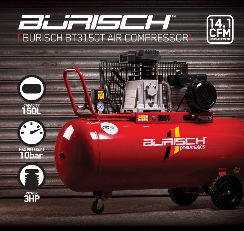 Burisch Air Compressor 3hp 150l Belt Drive Twin 14cfm Twin