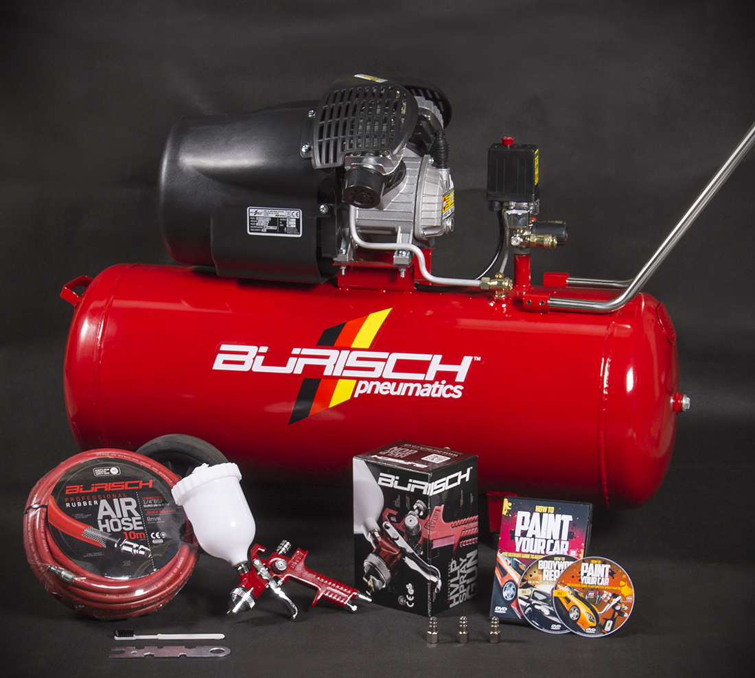 Air compressor 100l hvlp spray gun 10m air hose for Car paint air compressor