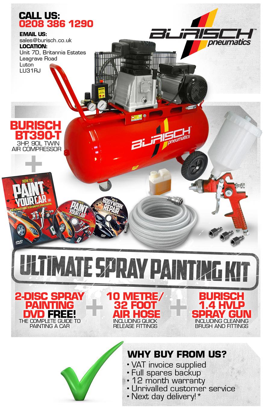 Burisch air compressor 90l hvlp spray gun 10m air hose for Car paint air compressor
