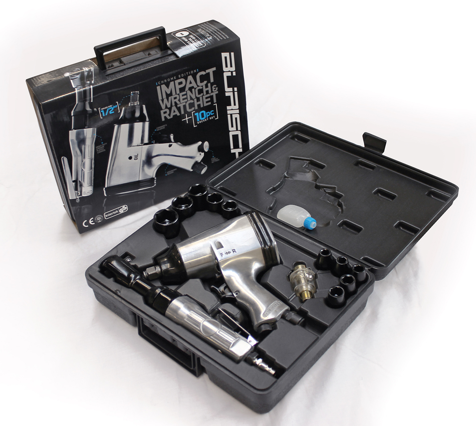 "about BURISCH 1/2"" AIR IMPACT WRENCH RATCHET SOCKET TOOL KIT SET"